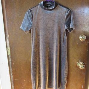 WHBM Silver Velvet Sheath Dress Size XS